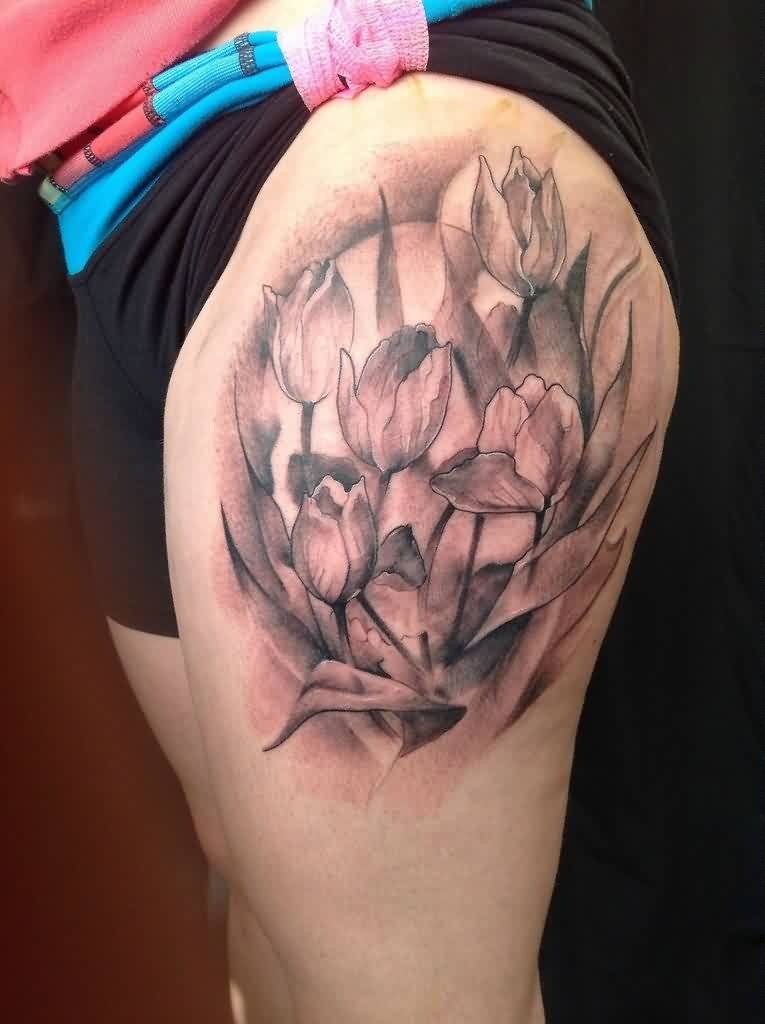 Realistic Tulips Tattoo On Thigh