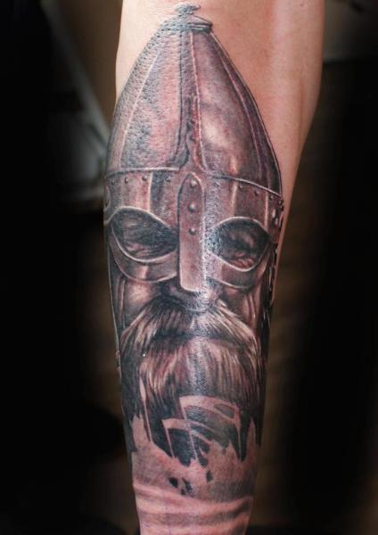Realistic Warrior Wearing A Helmet Tattoo