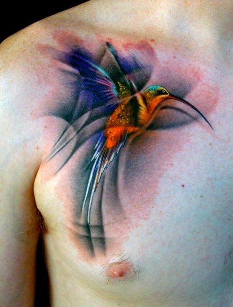 Realistic Watercolor Hummingbird Tattoo On Chest