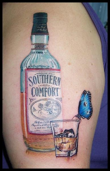 Realistic Whiskey Bottle And Glass Butterfly Tattoos