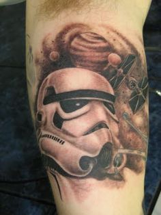 Realistic White Helmet Tattoo On Muscles