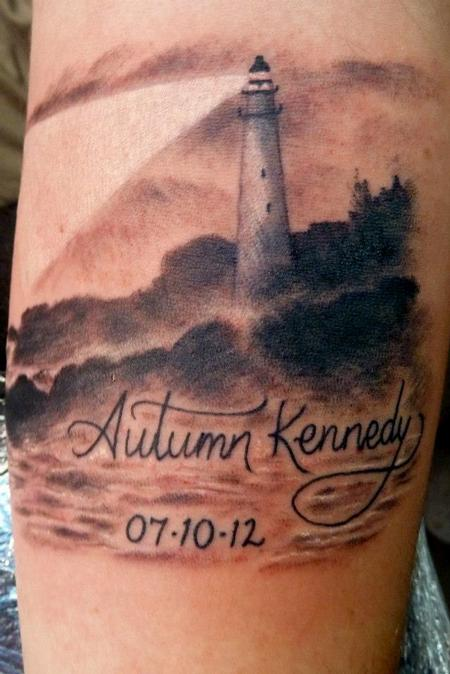 Realistic White Lighthouse Name And Date Tattoos