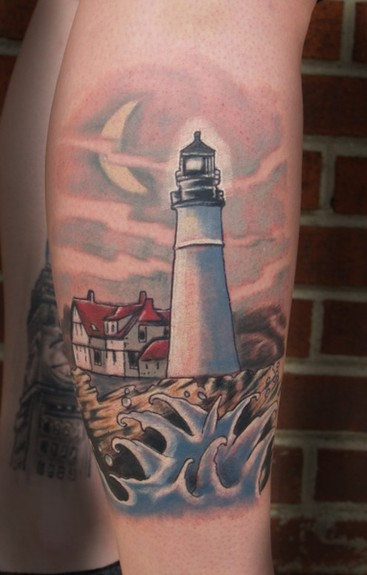 Realistic White Lighthouse Tattoo (2)