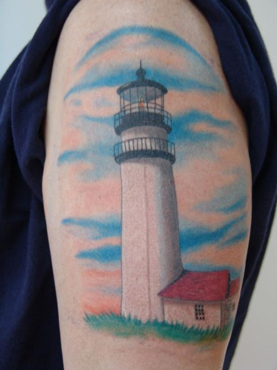 Realistic White Lighthouse Tattoo On Biceps (2)