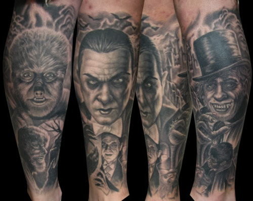 Realistic Wolfman Dracula Mr Hyde Sleeve Tattoos