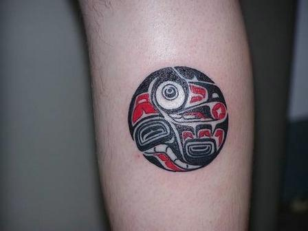 Red And Black Native American Tattoo