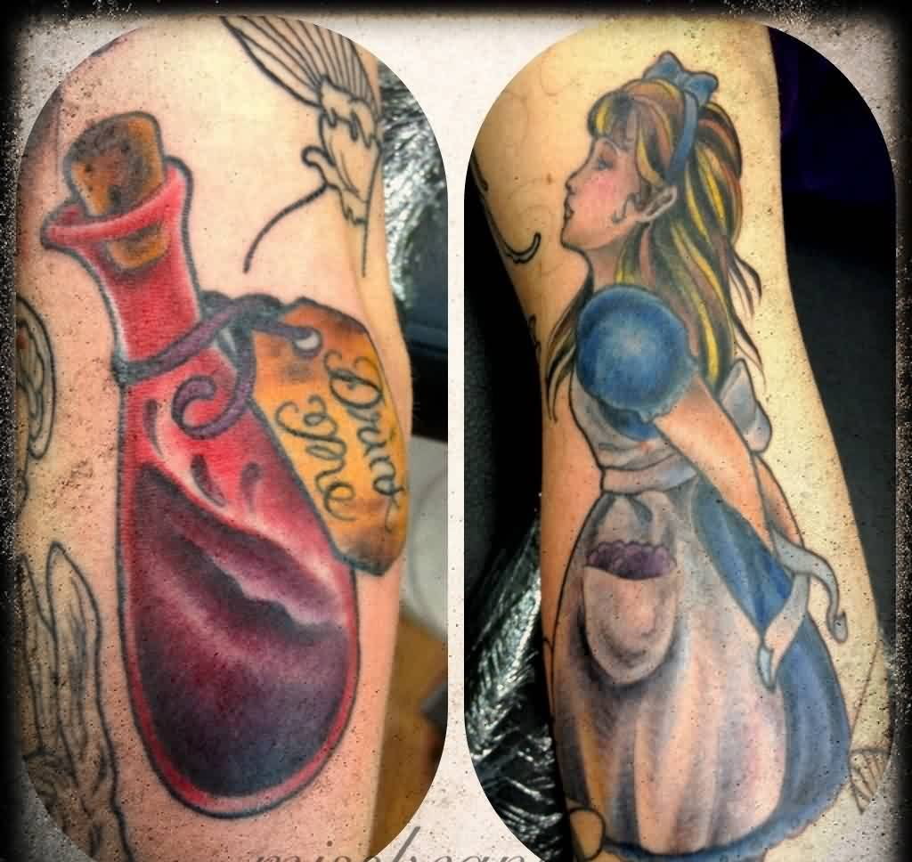 Red Bottle And Girl Tattoos