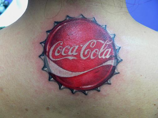 Red Coke Bottle Cap Tattoo On Back Neck