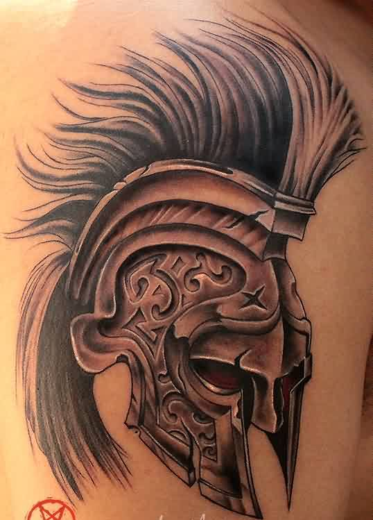 Red Eyed Spartan Helmet Tattoo