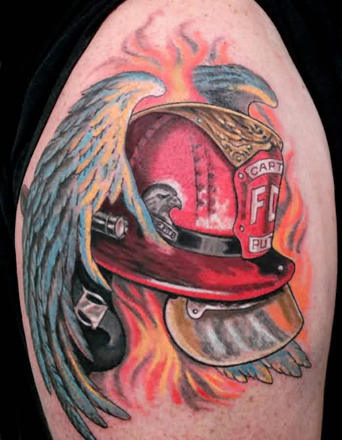 Red Firefighter Helmet With Wings Tattoo On Biceps