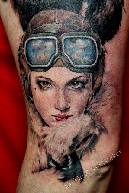 Red Lips Female And Helmet Portrait Tattoos