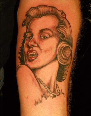 Red Lips Female Portrait Tattoo