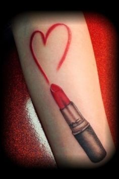 Red Lipstick Heart Tattoo