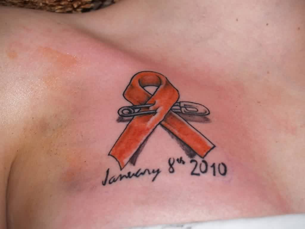 Red Ribbon With Safety Pink Tattoo On Chest