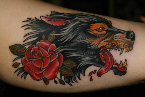 Red Rose And Black Wolf Head Tattoos