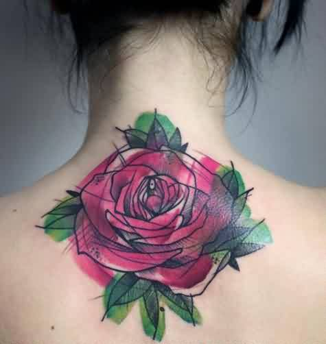 Red Rose Watercolor Tattoo On Back Neck