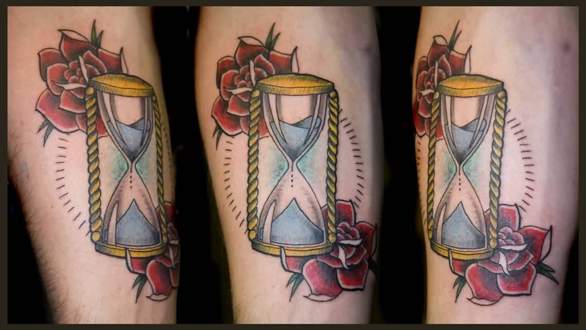 Red Roses And Hourglass Tattoos