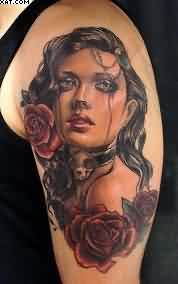Red Roses And Lady Portrait Tattoos On Biceps