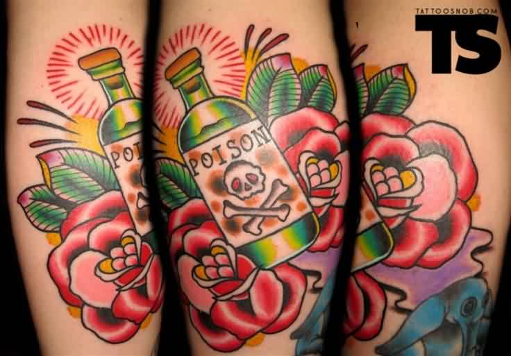 Red Roses And Poison Bottle Tattoos