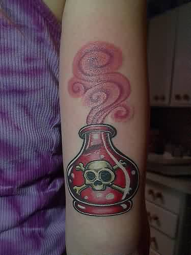 Red Skull Poison Bottle Tattoo On Arm