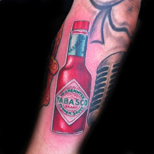 Red Tabasco Bottle Tattoo