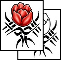 Red Tulip Tribal Tattoo Design