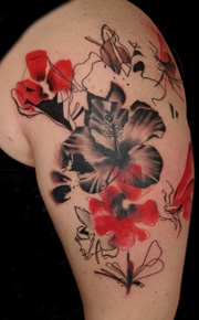 Red Tulips And Other Flower Tattoos On Biceps