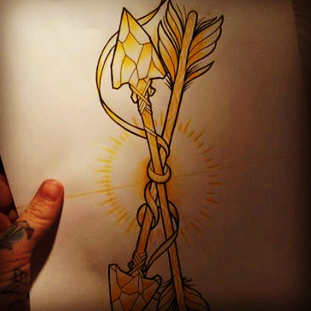 Ribbon And Arrows Tattoo Design Page