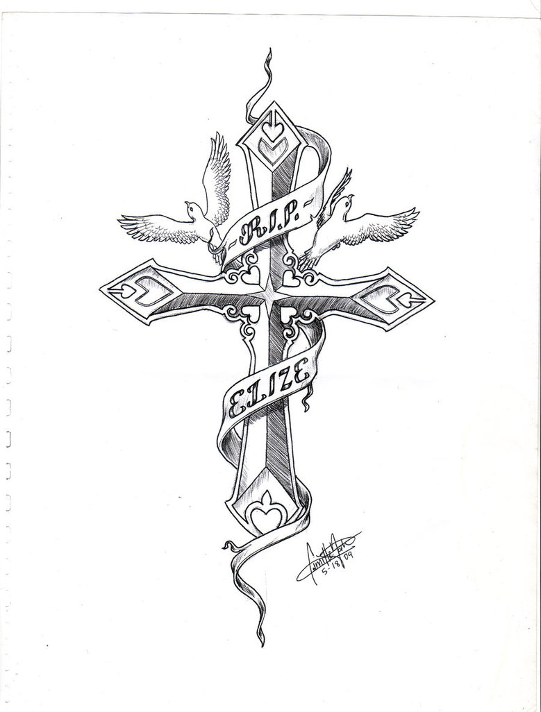 Ribbon Around Cross And Doves Tattoo Design