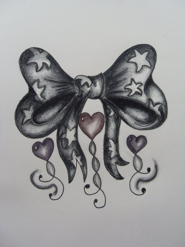 Ribbon Bow And Hearts Tattoo Designs