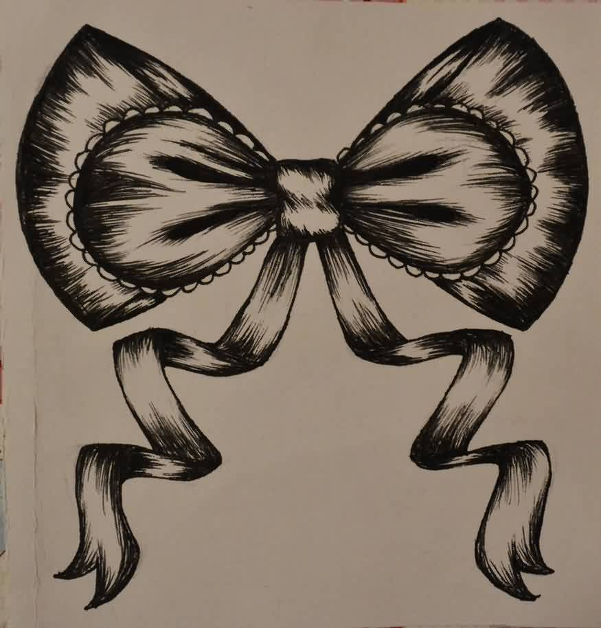 Ribbon Bow Tattoo Design
