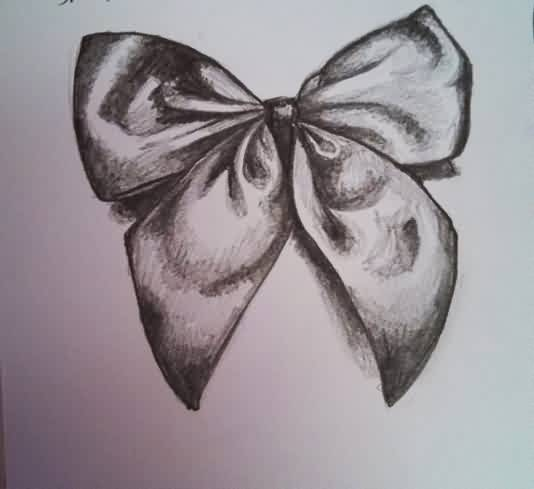 Ribbon Bow Tattoo Sketch (2)