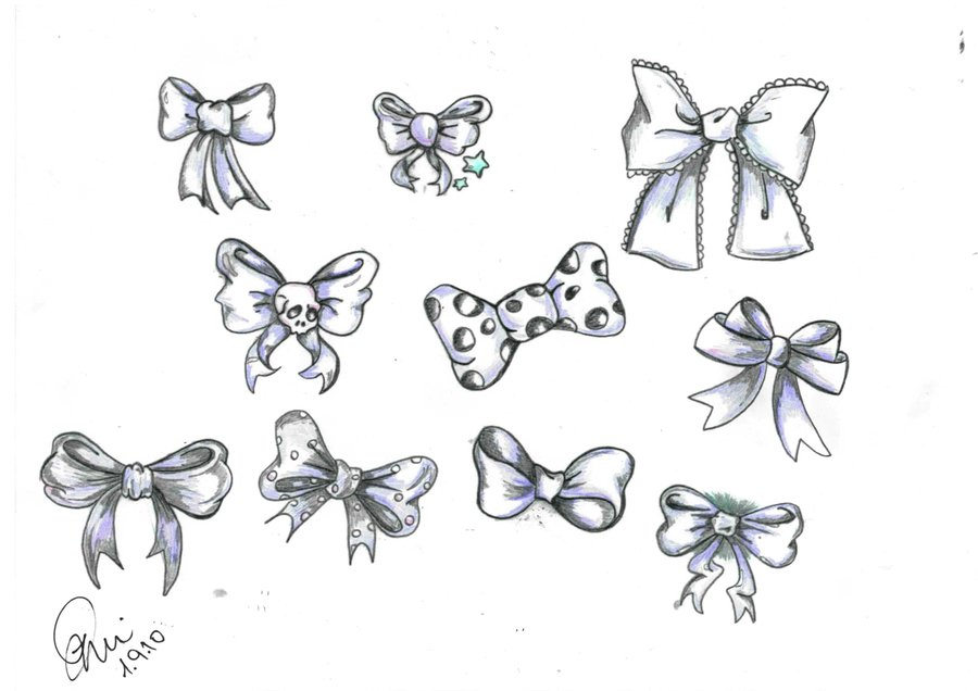 Ribbon Bows Tattoos Set (2)