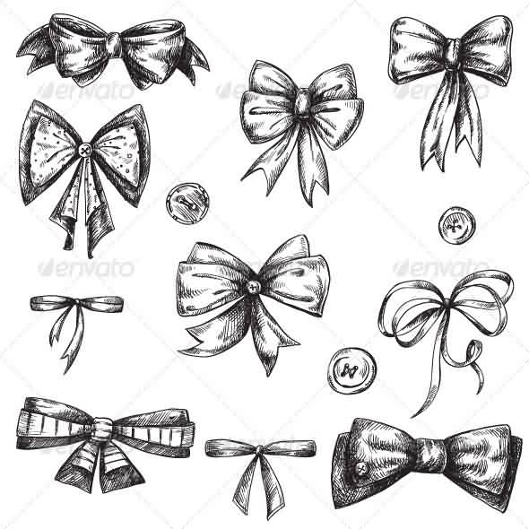 Ribbon Bows Tattoos Set