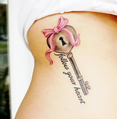 Ribbon Key And Word Tattoos For Girls