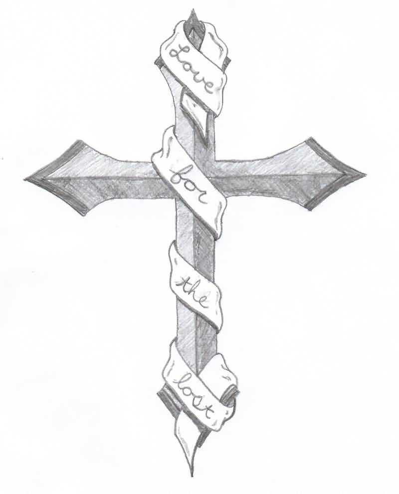 Ribbon Wrapped Cross Tattoo Sketch