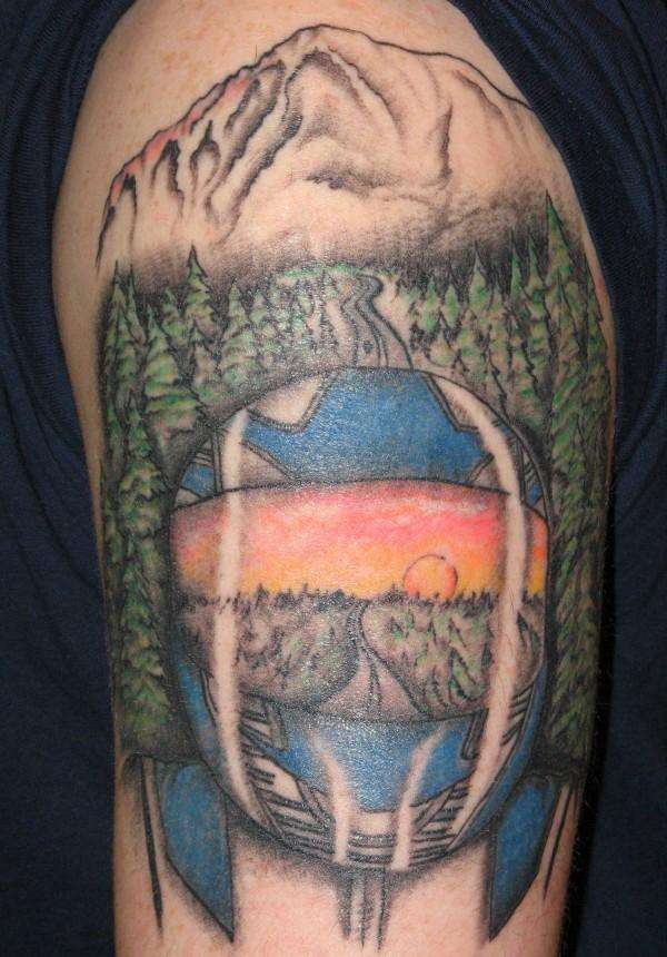 Riding Into The Sunset - Helmet Tattoo