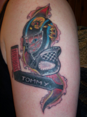 Ripped Skin Hockey Helmet Tattoo