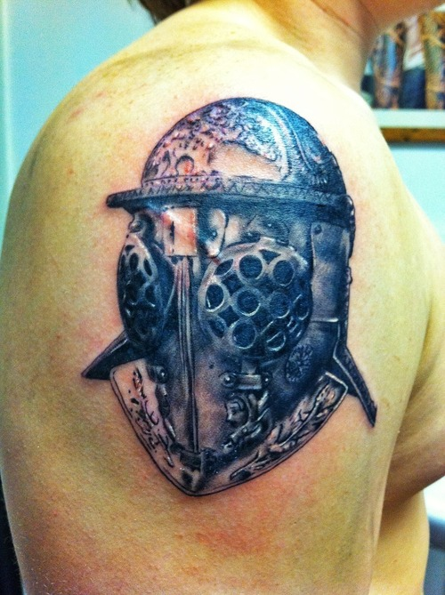 Roman Gladiator Helmet Tattoo On Shoulder