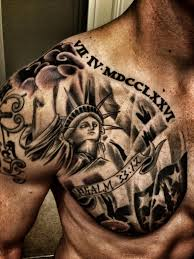 Roman Numerals And American Tattoos On Chest