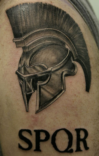 Roman Soldier's Helmet Tattoo