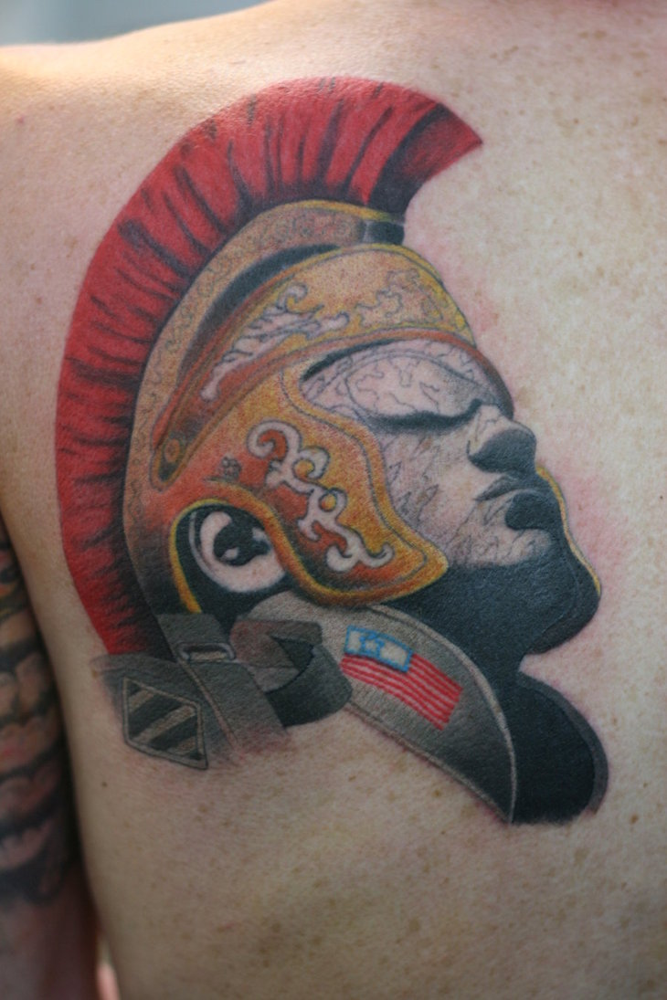Roman Warrior Head In Helmet Tattoo On Chest