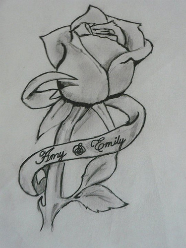 Rose And Ribbon Tattoo Design