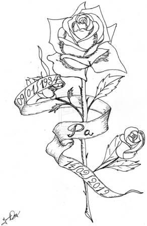 Rose And Ribbon Tattoo Designs