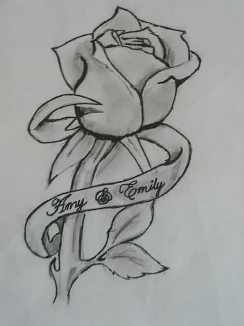 Rose And Ribbon Tattoos Drawing