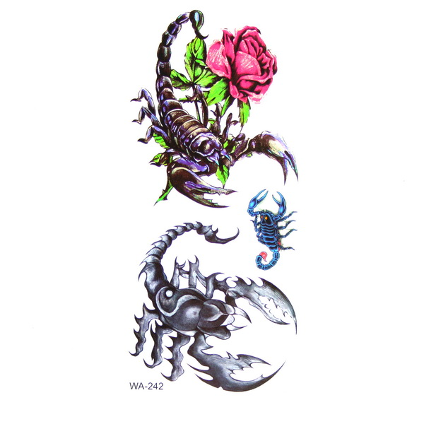 Rose And Three Scorpion Tattoo Designs