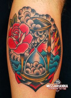 Rose Clouds Hour Glass Tattoos