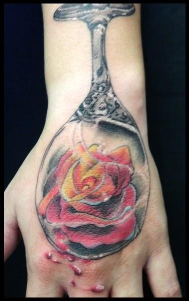 Rose In Glass Tattoo On Hand