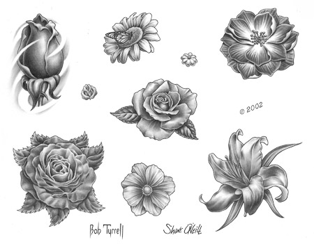 Rose Tulip And Lily Flower Tattoo Designs