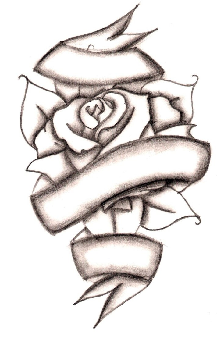 Rose With Ribbon Tattoo Design